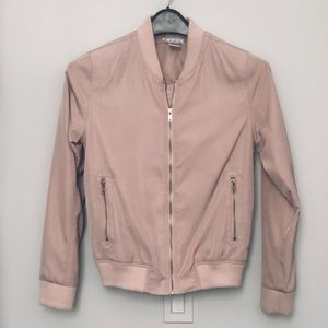 ON THE ROAD Blush Pink Silky Bomber Jacket Sz S